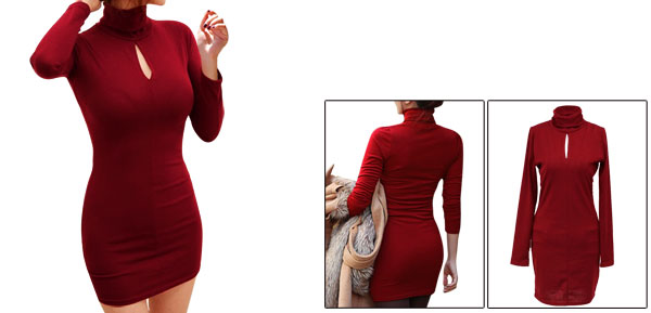Women Turtle Neck Long Sleeve Slim Fit Elastic Mini Dress Burgundy XS