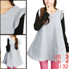 Lady Round Neck Sleeveless Pullover Design Light Gray Tunic Tank Top XS