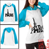 Lady Hooded Long Sleeve Pullover Design Turquoise White Hoodie S