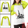 Lady Hooded Long Raglan Sleeve Color Block Lime White Hoodie S