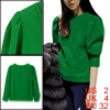 Ladies Pullover Solid Color Pure Pattern Green Casual Top XS
