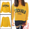 Women Pullover Round Neck Yellow Casual Cropped Sweatshirt XS