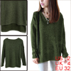 Pullover Round Neck Long Dolman Sleeve Army Green Knitted Shirt for Lady XS