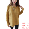 Ladies Chic Ochre Color Irregular Hem Loose Knitted Top Shirt XS