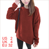 Woman Long Dolman Sleeve Dark Orange Irregular Hem Knitted Shirt XS