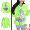Lady Hooded Long Sleeve Pullover Design Green Yellow Hoodie XS