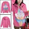 Lady Hooded Long Sleeve Pullover Autumn Fuchsia Hoodie XS