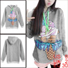 Lady Hooded Long-sleeved Cartoon Ice Cream Parttetn Gray Hoodie XS