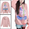 Lady Hooded Long-sleeved Pullover Design Casual Pink Hoodie XS