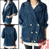 Women Split Lapel Double Breasted Style Batwing Sleeve Pockets Denim Jacket Dark Blue S