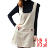 Lady U Neck Sleeveless Concealed Zipper Side Beige Tank Dress XS