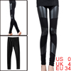 Women Elastic Waist Patchwork Stylish Autumn Cropped Leggings Black XS