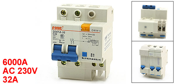 6000A Overload Protection 2P DIN Rail Circuit Breaker DZ47LE-32 32A