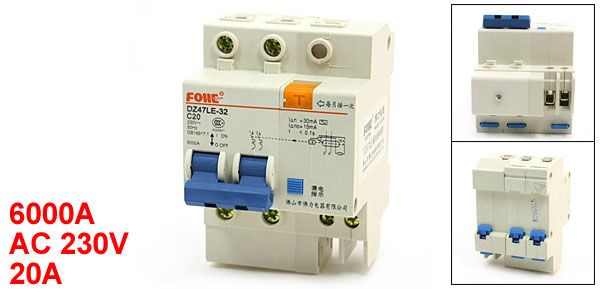35mm DIN Rail Mount DZ47LE-32 20A Circuit Breaker 2Pole 6000A 230VAC