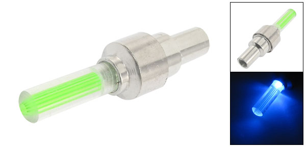 Silver Tone Car Motorcycle Wheel Tyre Valve Cap Green LED Light Bulb
