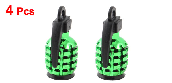 4 Pcs 7mm Inner Dia Green Grenade Design Auto Car Tire Tyre Valve Cover Caps