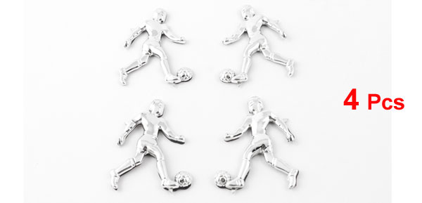 4 Pcs Auto Car Decor Alloy Man Playing Soccer Ball Design Adhesive Stickers