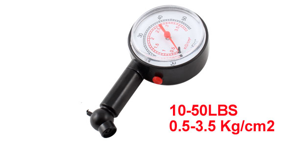 Black Clear 10-50LBS 0.5-3.5 Kg/cm2 Air Tire Pressure Gauge Gage