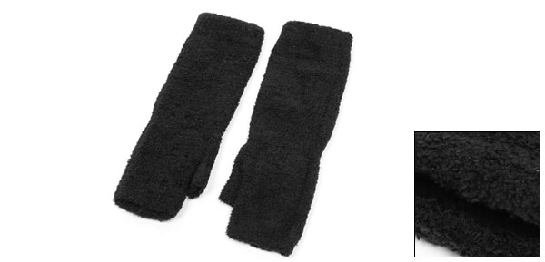 Unisex Thumbless Fingerless Black Arm Long Stretchy Gloves Warmer Pair