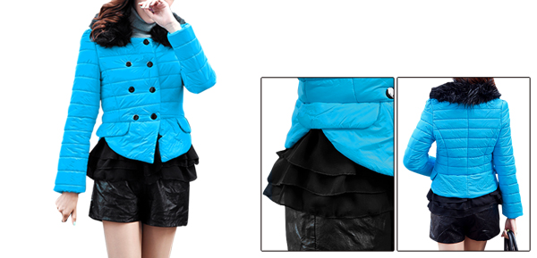 Women Sky Blue Double-Breasted Design Splice Warm Padded Jacket XS