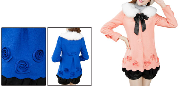 Woman Single-Breasted Front Solid Flower Design Coral Pink Worsted Peacoat XS