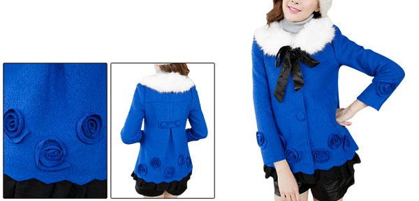 Ladies Royalblue Single-Breasted Front Chiffon Splice Hem Worsted Peacoat XS