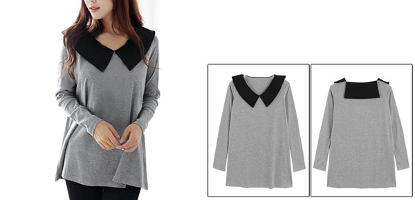 Lady Peter Pan Collar Long Sleeve Elastic Light Gray Top Shirt XS