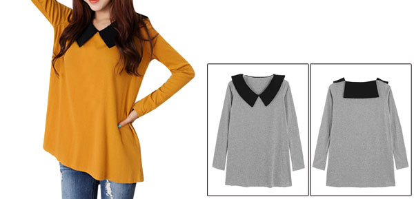 Lady Peter Pan Collar Long Sleeve Stretchy Pullover Dark Yellow Top Shirt XS
