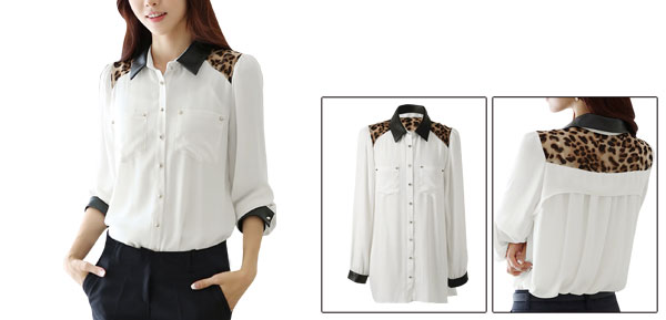 White Point Collar Front Patch Pockets Leopard Detail Shirt Lady S