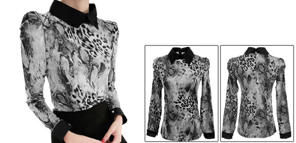 Lady Gray Snake Leopard Prints Pullover Concealed Back Zipper Top Shirt XS