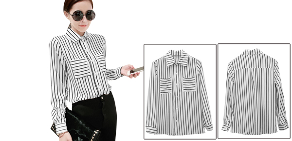 Women White Stripes Pattern Front Patch Pockets Button Up Shirt XS