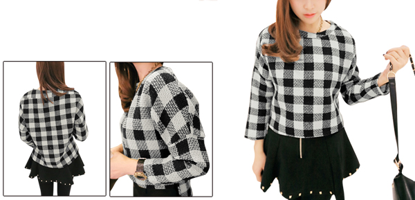 Women Black White Scoop Neck 3/4 Sleeve Check Pattern Worsted Top S