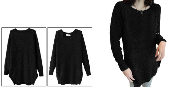 Lady Black Square Neck Knitted Hem Pullover Fleece Top Shirt XS