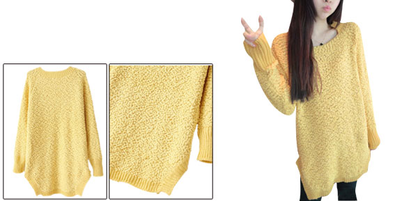 Women Yellow Side Split Detail Long Sleeved Casual Fleece Top Shirt XS