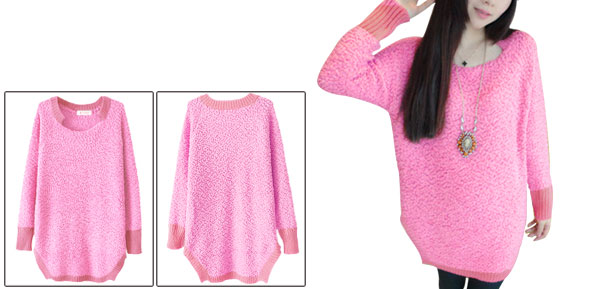 Hot Pink Lady Square Neck Splicing Knitted Hem Fleece Top Shirt XS