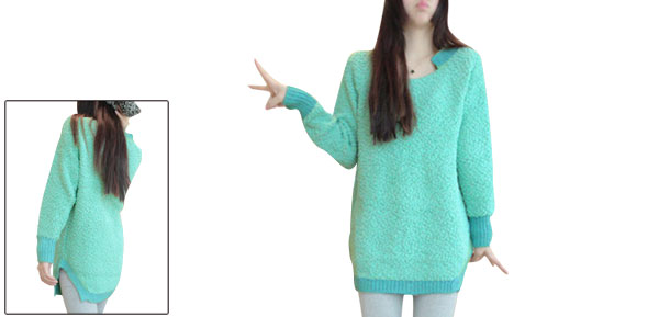 Lady Sea Green Long Sleeved Splice Knitted Trim Fleece Top Shirt XS