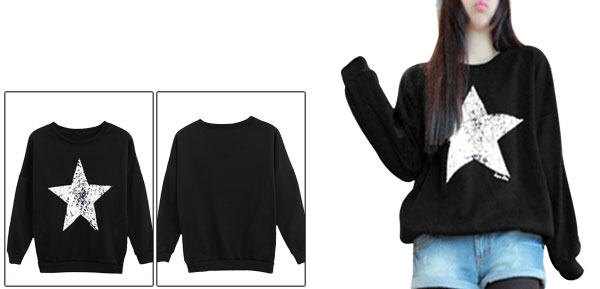 Black Long Sleeve Star Printed Ribbed Trim Sweatshirt Women XS