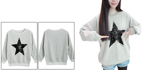 Light Gray Women Start Pattern Ribbed Hem Pullover Casual Sweatshirt S
