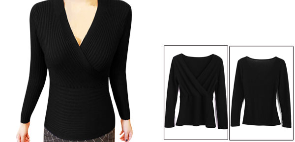Women Deep V Neck Pullover Slim Fit Wrap Knitted Tops Black XS