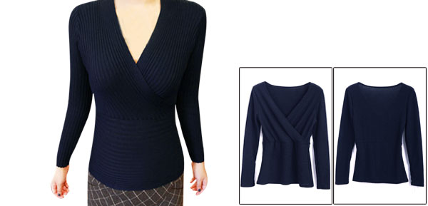 Women Pullover Long Sleeve Elastic Wrap Knitted Tops Navy Blue XS