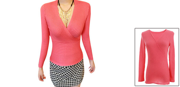 Women Deep V Neck Stretchy Autumn Wrap Knitted Tops Watermelon Red XS