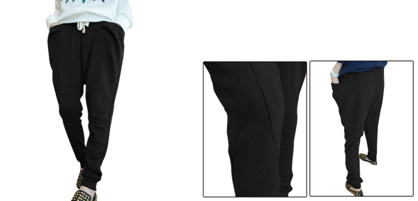 Women Elastic Waist Two Front Pockets Autumn Casual Pants Black XS