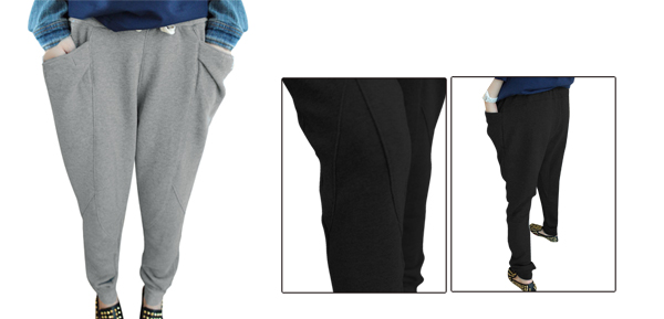 Women Stretchy Waist Stylish Autumn Wearing Casual Pants Light Gray XS