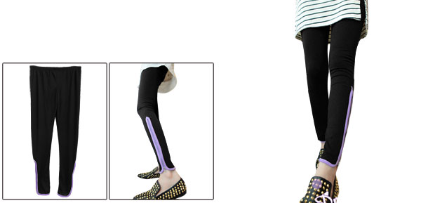 Woman Elastic Waist Slim Fit Zip-Up Hem Design Black Leggings XS