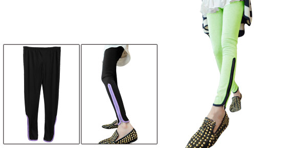 Light Green Color Zip-Up Hem Design Leggings for Woman XS