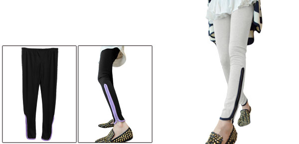 Woman Chic Light Gray Elastic Waist Slim Fit Soft Leggings XS