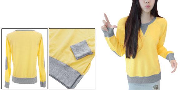 Woman Round Neck Long Raglan Sleeve Panel Yellow Sweatshirt XS