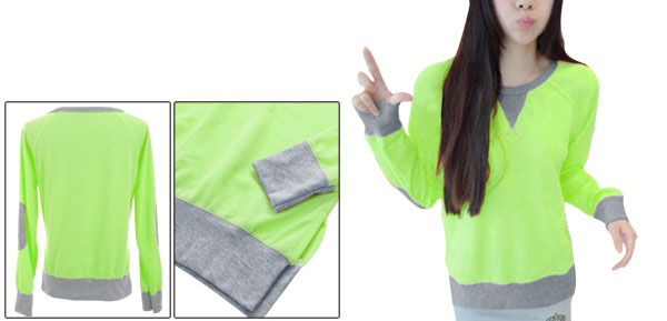 Pullover Round Neck Long Raglan Sleeve Light Green Sweatshirt for Lady XS