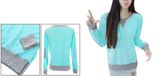 Sweet Mint Color Long Raglan Sleeve Casual Sweatshirt for Lady XS