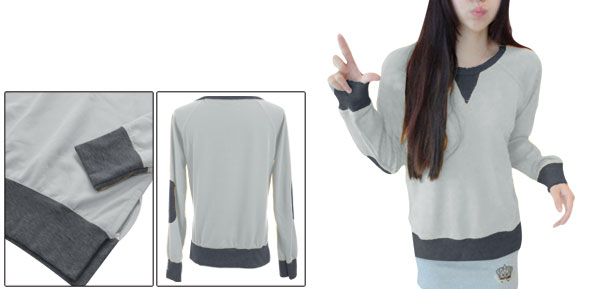 Ladies Patchwork Spliced Sleeve Light Gray Casual Sweatshirt XS